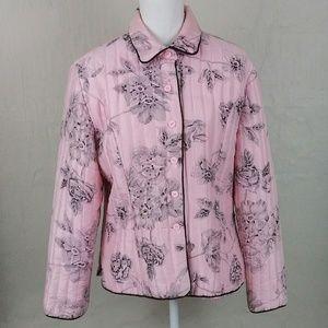 Carole Little 100% Silk Pink Black Floral Jacket